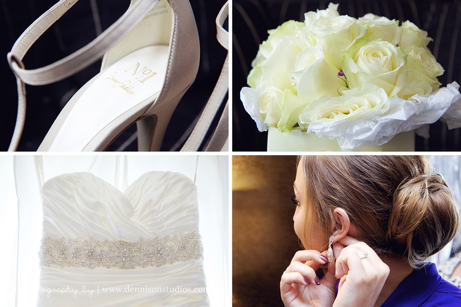 Wedding dress shoes and flowers Sussex